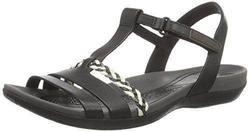Clarks Tealite Grace, Sandali con Zeppa Donna, Nero (Black Leather), 42 EU