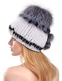 VEMOLLA Cappello Spesso Invernale per Donne in Vera Pelliccia di Coniglio  Rex Berretto con PON PON cfd7b63d73c7