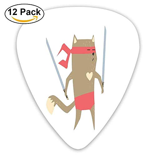 Crime Fighter Ninja Katze mit zwei Schwertern und Herz Cartoon Superpower Animal Fighter Plektren 12 Pack Für E-Gitarre, Akustikgitarre, Mandoline und Bass -