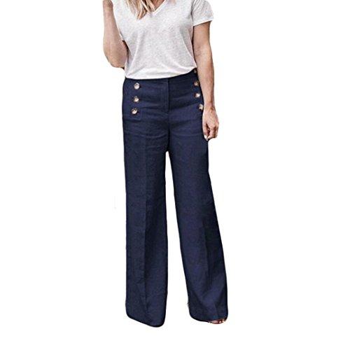 Hosen Damen,Frauen High Waist Bequeme Culottes Hosen Leichte Sommerhose Elegante Stoffhose Coole Schicke Chino Hose LäSsige Lockere Hose Schwarz Blaue Graue (Blaue,34)