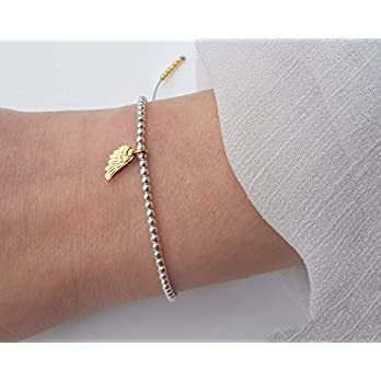 SCHOSCHON Damen Kugelarmband Engelsflügel 925 Silber teils vergoldet Hellgrau // Weihnachten Geschenk Mädchen Teenager Armband Kügelchen Flügel Symbol