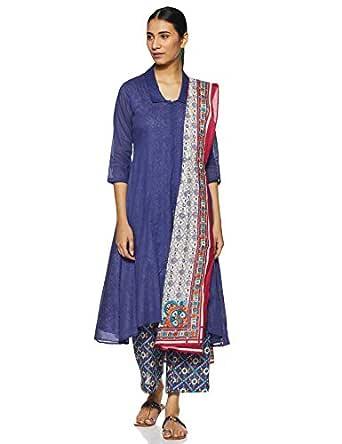 BIBA Women's cotton straight Salwar Suit Set (SKD5806_ Blue_ S (32))