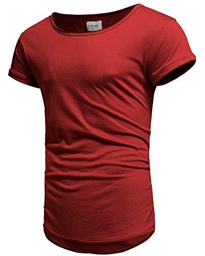 Crone Herren Kurzarm Rundhals Basic Oversize Slim Fit T-Shirt in vielen Farben Weinrot