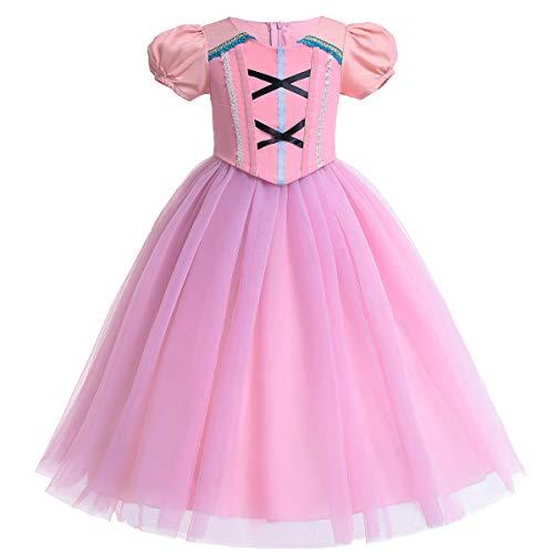 Rosa Prinzessin Aurora Rapunzel Halloween Kostüm Mädchen Kleid Zeremonie Phantasie Kostüm (140, Fake Two Piece)