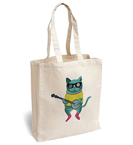 MyMerchandise cat playing guitar cat wih black glasses Canva Bag Tote Handbag Shoulder Bag Sports Leisure Picnic