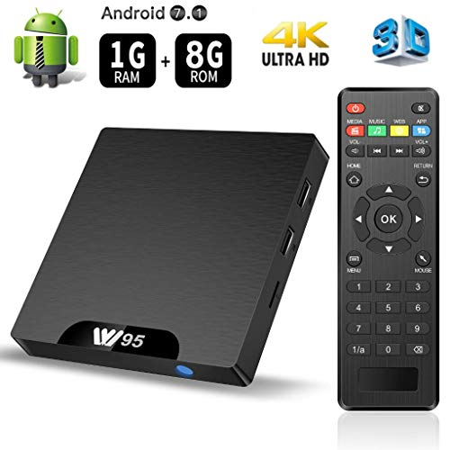 floureon W95 TV Box Android 7.1 Amlogic S905W Quad Core 1GB+8GB Mali-450 Penta Core GPU 4K Boîtier Numérique et Intelligent pour la Télévision WiFi Smart TV Box with LED Indicato