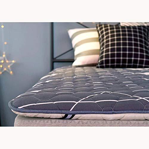 Tatami Bodenmatratze Matratze,100 % Baumwolle Folding Vier Jahreszeiten Nicht-slip Multifunktion Twin Vollständige Matratze Teppich Crawling Mat Ground Mat Bay Window Pad-blau 180x200cm(71x79inch) (100 Baumwolle Matratze Pad)