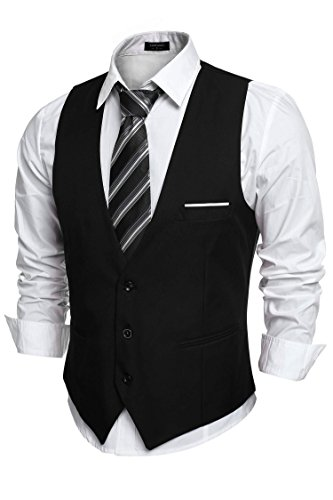 Coofandy Chaleco Hombre Blazers Sin Manga de Boda Negro Talla-L