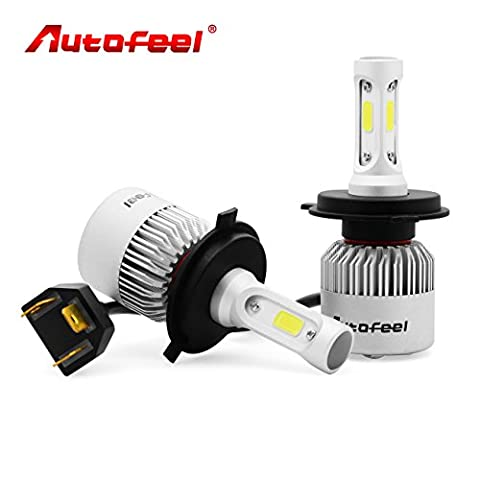 H4 9003 Bulbs, Autofeel Headlight Bulbs 8000LM 72W IP65 6500K COB for Car Headlamps Kits,Cool White CREE LED-1 Year Warranty