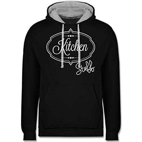Küche - Kitchen Staff Küchenhelfer - Kontrast Hoodie Schwarz/Grau Meliert