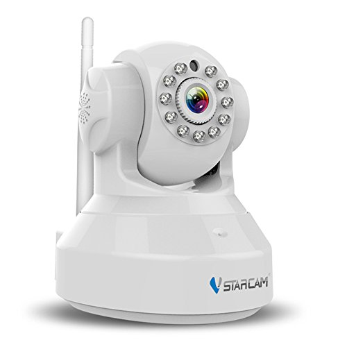 Vstarcam H.264 1280 x 720p Home Surveillance Camera Wireless IP Camera Built in Microphone with One Key WI-FI Configuration APP, Motion Detection, Remote Viewing Function, 3dBi WIFI Antenna,White