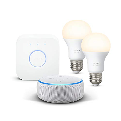 Echo Dot (3.ª generación), tela de color gris claro + Philips Hue...