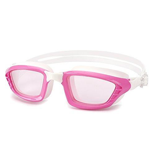 Schwimmen-Schutzbrillen-Mann-und Frauen-allgemeine hochauflösende Anti-Nebel und wasserdichte Schwimmen-Gläser Plain Large Frame Bequeme Silikon-Schutzbrillen, fünf Farben optional. (Farbe : Pink)