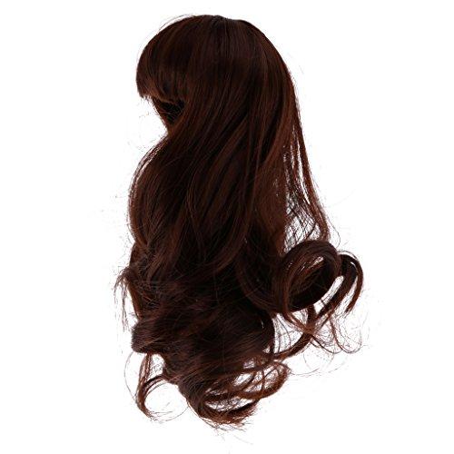 MagiDeal Hübsche Perücke Glattes Haar Für 1/6 Bjd Sd Dollfie Puppen Kinder DIY Puppenherstellung 15cm - 16cm - Kaffee