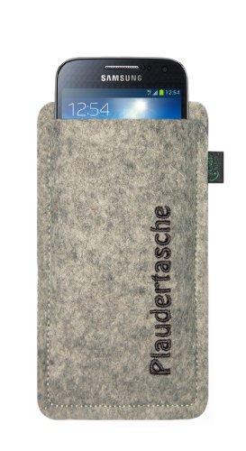 Filztasche für Samsung Galaxy S4 Mini und iPhone 5C, Plaudertasche, Filzfarbe lime, hochwertig gestickt, 100 % Wollfilz, Markenprodukt aus Deutschland Filzfarbe hellgrau