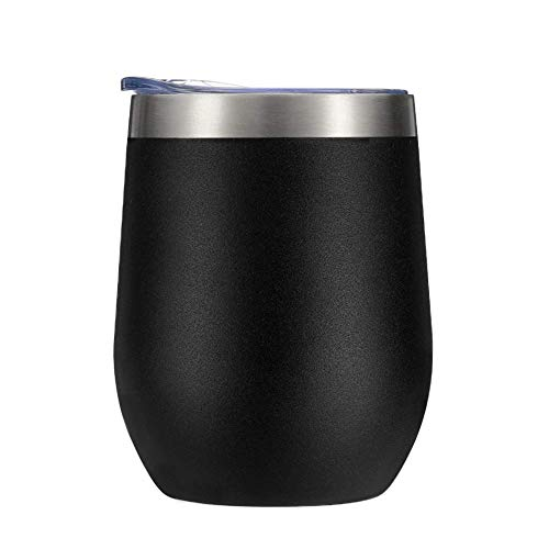 Vanvo Cocktails 12 oz Stainless Steel Wine Glass Tumbler with Lid, Double Wall Vacuum Insulated  Travel Cup for Coffee, Cocktails, Ice Cream Black