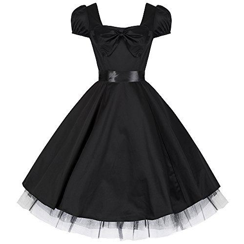 Pretty Kitty Fashion 50s Black Vintage Swing Prom Pin-Up Tea Dress - AVAILABLE UP TO SIZE 26!!