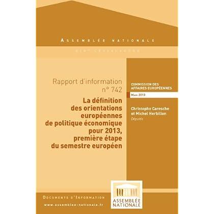 Rapport d'information sur les orientations européennes de politique économique