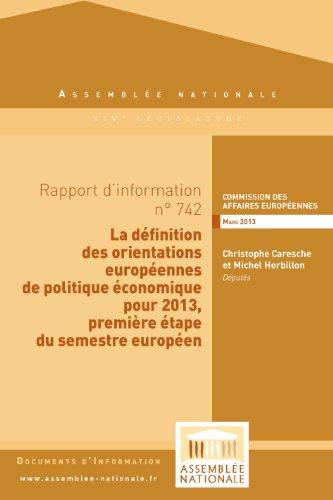 Couverture du livre Rapport d'information sur les orientations européennes de politique économique