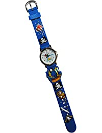 3-D Kinderuhr Pirat - Uhr Kinder Armbanduhr Silikon Piraten Schatztruhe Jungen blau Analog Schiff