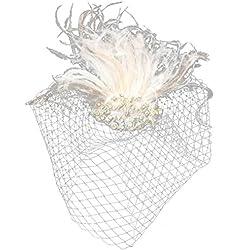 Lurrose Venda del pelo del velo de la pluma del pelo para la fiesta del té de la boda del coctel (blanco de marfil)