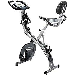 Finether Bicicleta Estática Plegable Magnética, Bicicleta de Entrenamiento con Respaldo, Bandas de Resistencia, Correas para Pies, 8 Niveles, Pantalla LCD, Sensor de Pulso