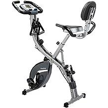 Finether Bicicleta Estática Plegable Magnética, Bicicleta de Entrenamiento con Respaldo, Bandas de Resistencia,