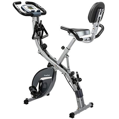 Finether cyclette pieghevole magnetica con bande di resistenza, cinghie per piedi, 8 livelli di resistenza, schienale, sedile, braccioli, supporto per telefono, display lcd, sensore di impulsi