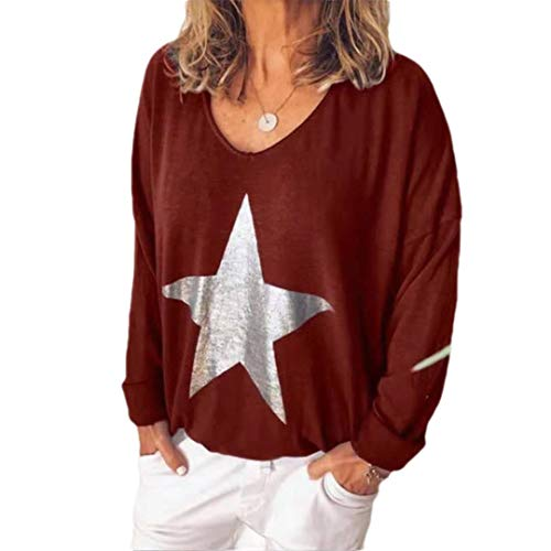 EnergyWomen Plus Size V Neck Print Star Loose Pullover Top Tee Shirt Tunic Red Wine 4XL