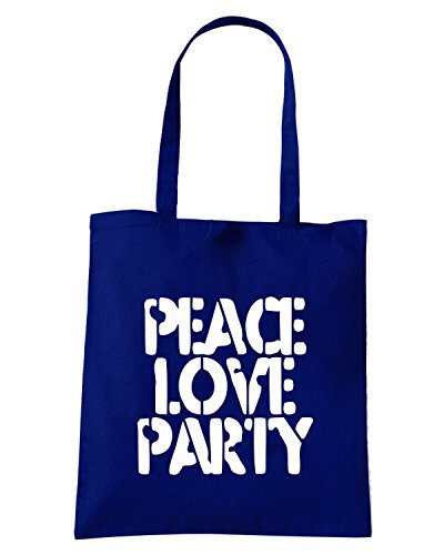 T-Shirtshock - Borsa Shopping TM0507 peace love party Blu Navy