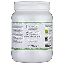 Vita Natura Gerstengras-Pulver Bio, 100% rein aus Deutschland 1er Pack (1 x 500 g) …
