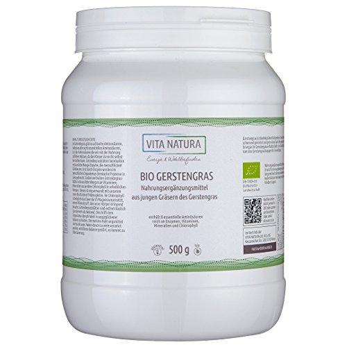 Gerstengras Pulver Bio 500g | 100% reines Bio Gerstengras Pulver aus Deutschland ohne weitere Zusätze (Vita Pulver)