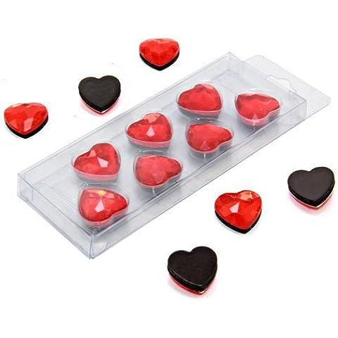 Magnet Expert Ltd - Imanes de sujeción (20 x 8 mm, 7 unidades), diseño de corazones, color rojo