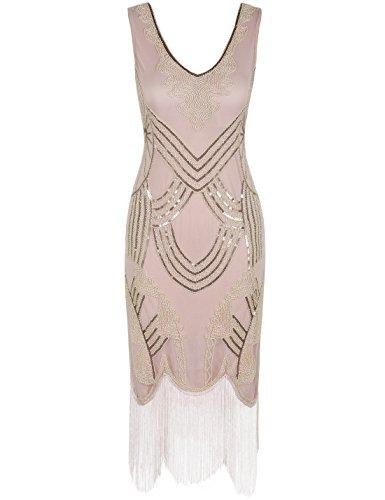 PrettyGuide Damen 1920er Gatsby Art Deco Perle Franse Flapper Charleston Kleid S Champagner gold Champagner Oder Gold Kleider