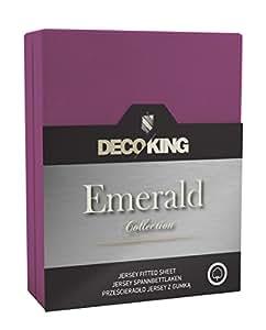 DecoKing 18439 Wasserbett Spannbettlaken 120 x 200 - 140 x  200 cm Jersey Baumwolle Spannbetttuch Emerald Collection, violett
