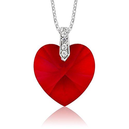 DTPsilver - Halskette/Kette mit Herz Anhänger für Damen mit Kristall aus Swarovski Elements - Farbe: Siam Licht/Rot (23-kristall-licht)