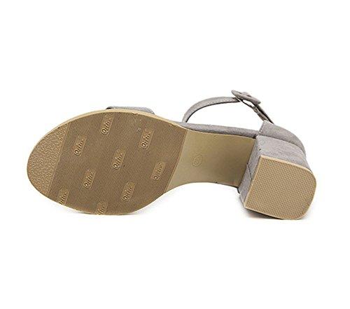 Scarpe col Tacco Sandali Donna con Tacc Accocinturino alla Caviglia Scarpe da Donna Comode Elegante e Raffinato per Spiaggia di Sabbia Festa Nozze Cocktail Partito Grigio