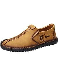 Juleya Zapatillas informales para hombres - Cómodas zapatillas de cuero Zapatillas bajas Zapatillas Mocasines de cuero ocasionales Zapatos para conducir Caminatas Ocio Amarillo / Marrón / Negro