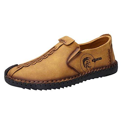 Hibote Herren Leder Freizeitschuhe Herren Britischen Stil Slip On/Schnürschuhe Casual Mode Flach Leder Loafer Schuhe Low-Top Sneakers Halbschuhe Slippers Gr.38-44