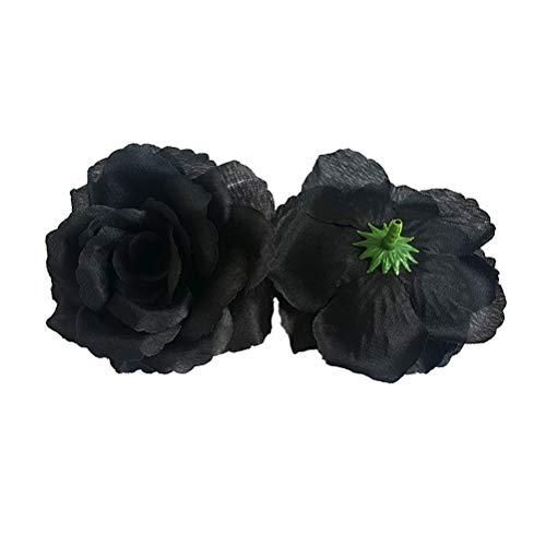 VORCOOL 20 stücke Künstliche Blumen Seide Rosenkopf für DIY Bouquets Hochzeit Dekoration (schwarz)