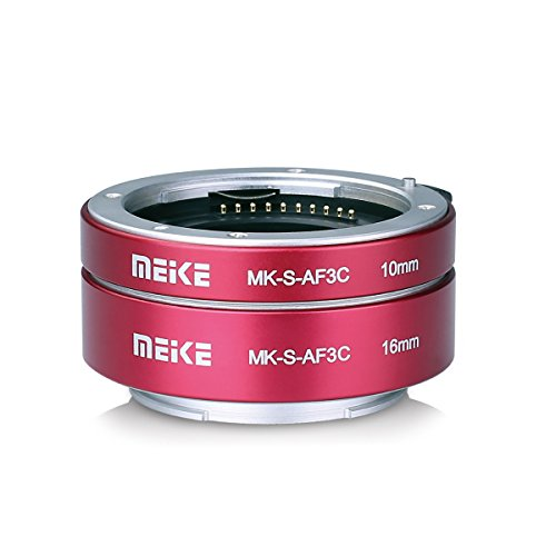 Meike MK-S-AF3C Metal Auto Focus Macro Extension tube Adapter Ring 10mm 16mm für Sony E-Mount Mirrorless Camera A5000 A6000 A6300 A6400 A6500 etc Red Digital Extension Tube Set