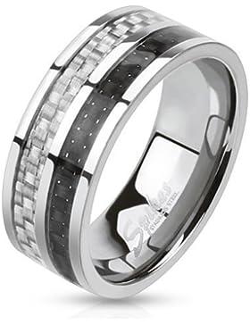 Herren Ring Ring Edelstahl, Carbonfaser, Schwarz Grau