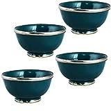 4er Set Orientalische kleine Keramikschale Schale Rund Cariba Blau Ø 11cm Groß | Bunte marokkanische Keramik Tapas Fingerfood Schalen bunt | Orient Keramikschalen klein als Geschirr & Dekoration