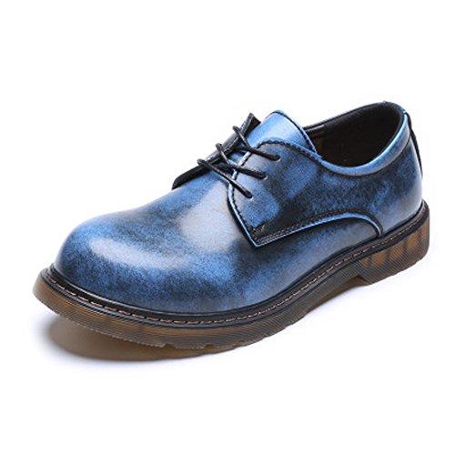 en Loafer Schuhe Aktuelle Leder Low Top Stiefeletten Big Kids Size Usable Lederschuhe (Color : Blau, Größe : 7.5MUS) ()