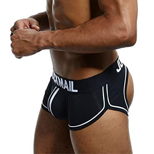 Sexy Herren Boxershorts Jockstrap Männer Sexy Unterwäsche Rückenfreies Gesäß Herren Strings Schwule Unterwäsche (L, Schwarz) (Herren Jockstrap Unterwäsche)