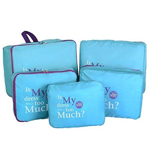 Ducomi® Set di 5 organizzatori per valigie impermeabili (Blue)