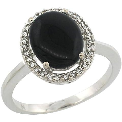 Revoni-Collana in oro bianco 14 kt con diamante Halo anello d'onice ovale, colore: nero naturale, 10 x 8