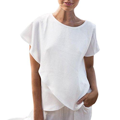 Zolimx women ' s t-shirt base estiva casual maniche corte camicette in chiffon top (m, bianca)
