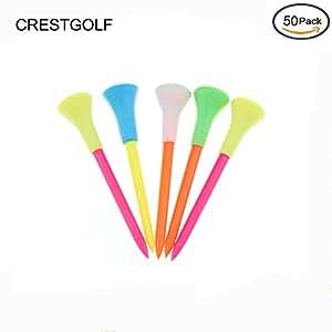 crestgolf 31/10,2cm Coussin en caoutchouc Dessus en plastique Tees de golf, Tees de golf en plastique avec tête en caoutchouc, lot de 50/Lot