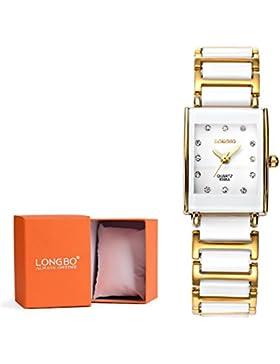 Longbo Luxus Damen Quadratisch Gold Link & Weiß Keramik Armband Analog Quarz Uhren Casual Armreif Uhr Kristall...